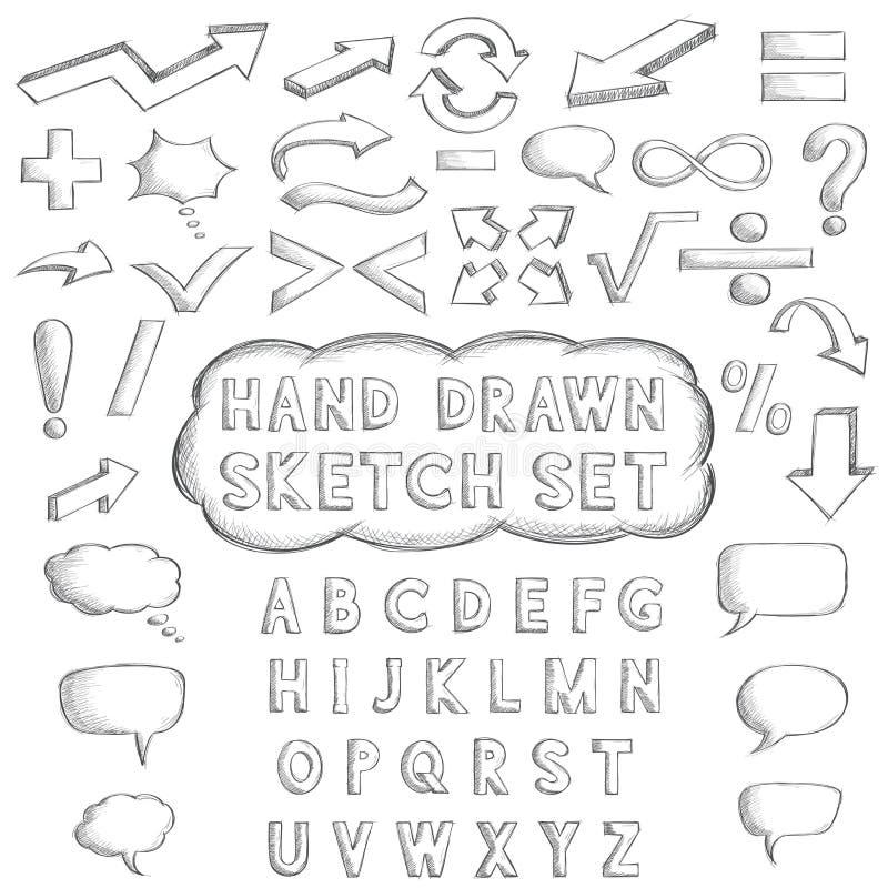 Brieven, wiskunde en punctuatiesymbolen Hand getrokken schets royalty-vrije illustratie
