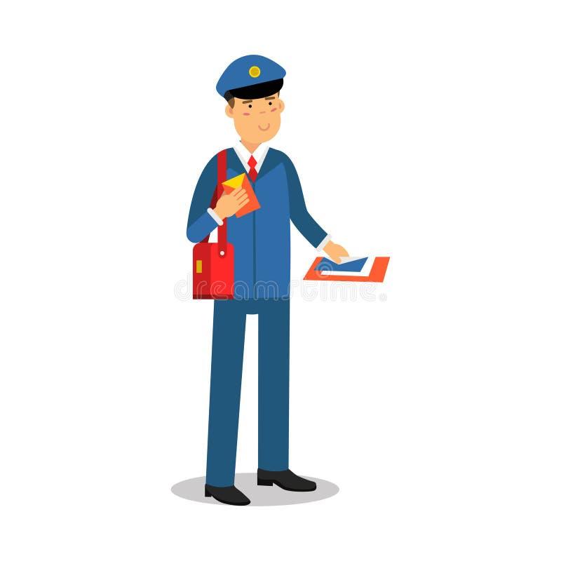 Brievenbesteller in blauwe eenvormig met het rode karakter van het de brievenbeeldverhaal van de zakholding, de uitdrukkelijke ve royalty-vrije illustratie