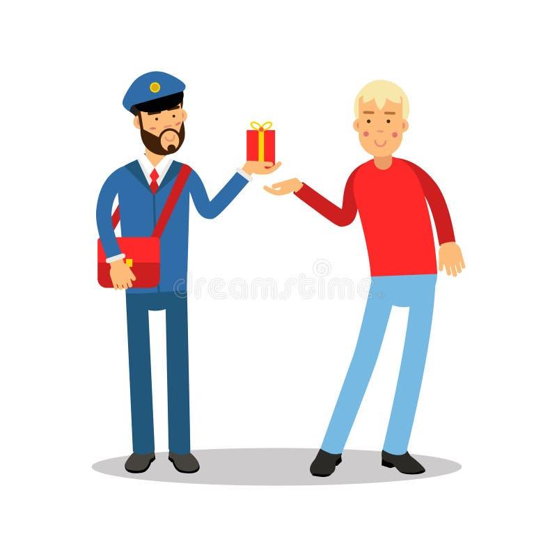 Brievenbesteller in blauwe eenvormig met rode zak die een pakket geven aan een karakter van het mensenbeeldverhaal, de uitdrukkel vector illustratie