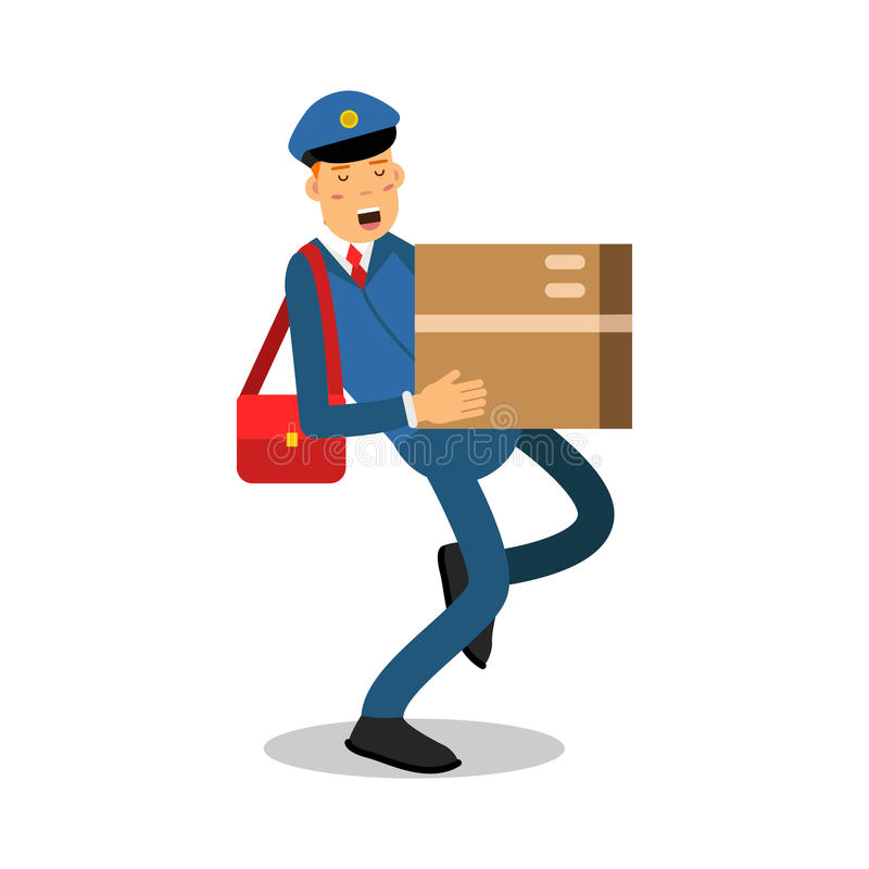 Brievenbesteller in blauwe eenvormig met rode zak die een zwaar karakter van het pakketbeeldverhaal, de uitdrukkelijke vector van vector illustratie