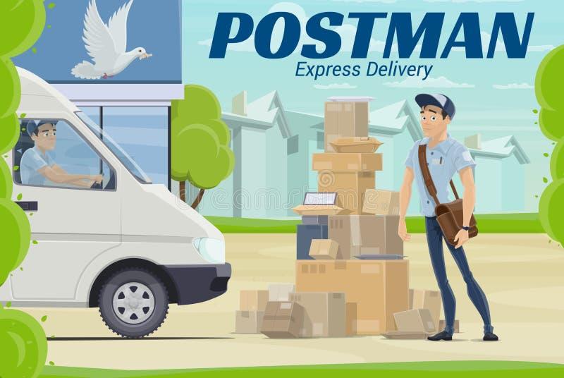 Brievenbesteller en pakket dichtbij postkantoor vector eps10 royalty-vrije illustratie