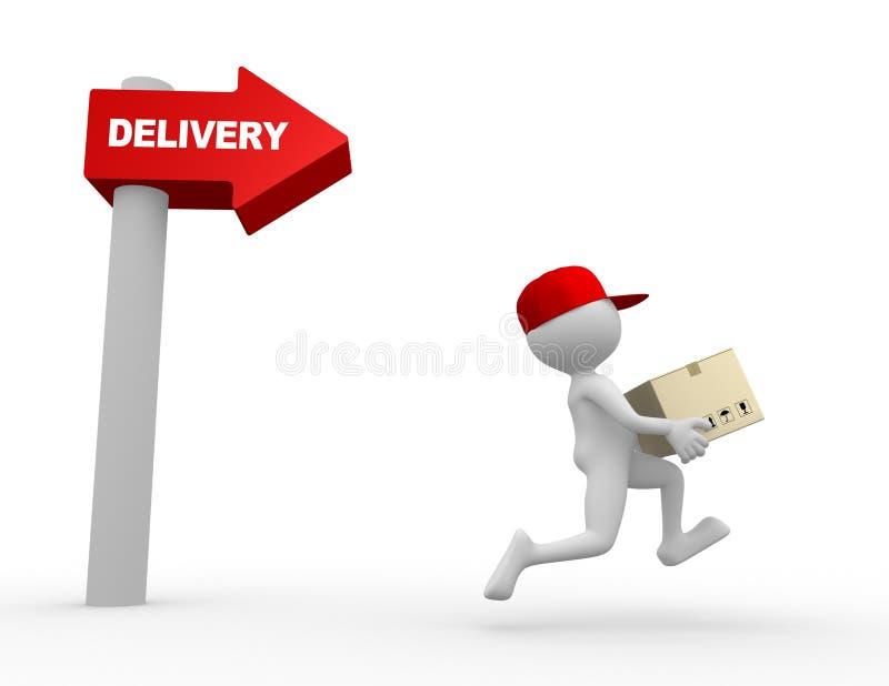 Brievenbesteller, levering. stock illustratie