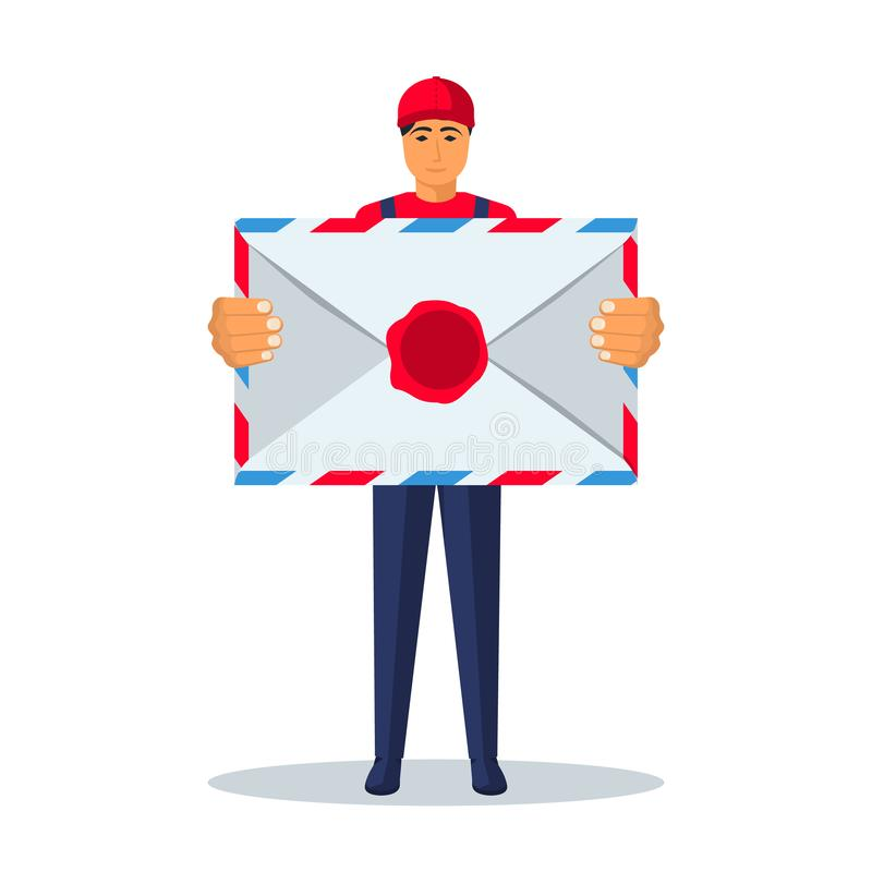 Brievenbesteller met een grote envelop in zijn handen royalty-vrije illustratie