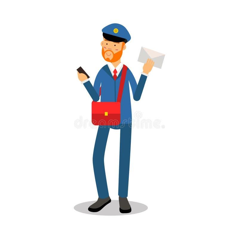 Brievenbesteller met een rode baard in het blauwe eenvormige leverende karakter van het brievenbeeldverhaal, de uitdrukkelijke ve royalty-vrije illustratie