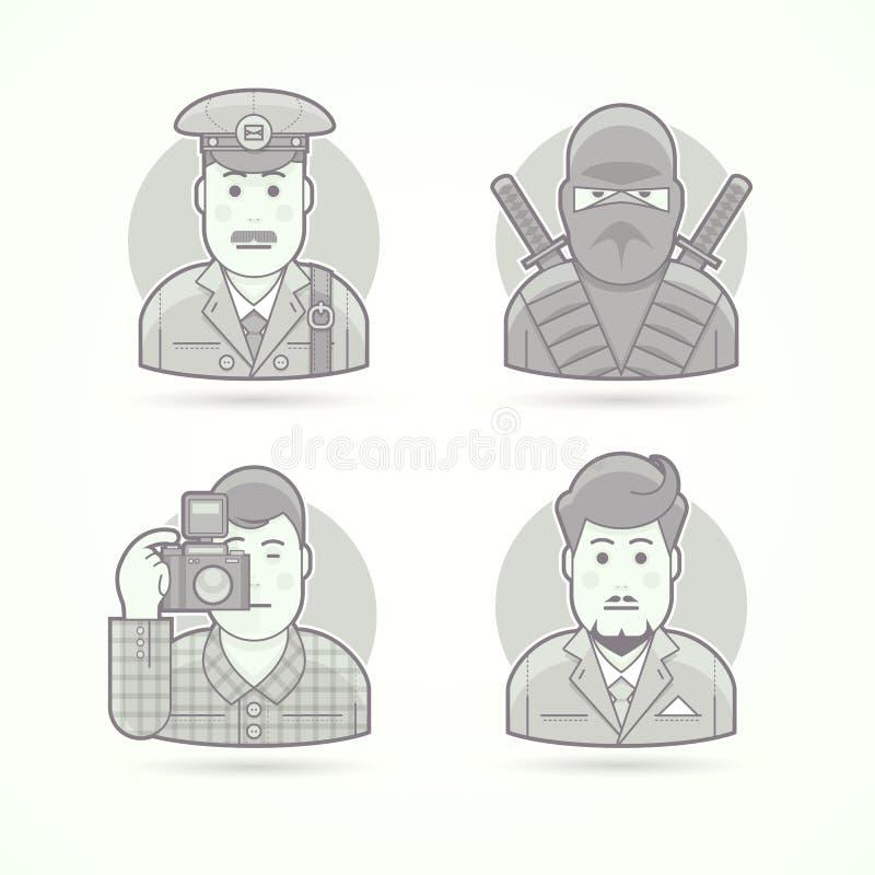 Brievenbesteller, ninjastrijder, fotograaf, bedrijfsmensenpictogrammen Reeks vectorillustraties van het karakterportret vector illustratie