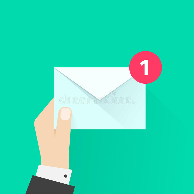 Brievenbestellerhand met brievenenvelop, e-mailbericht, postbestelling vector illustratie