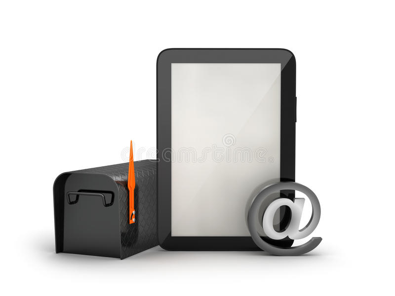 Brievenbus en tabletcomputer vector illustratie