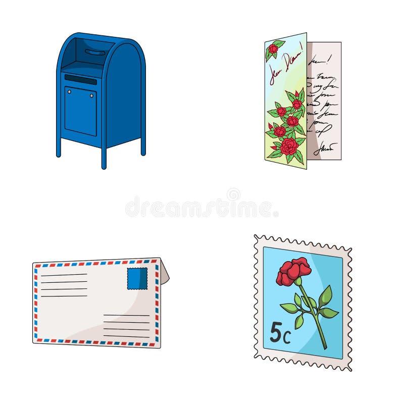 Brievenbus, felicitatiekaart, postzegel, envelop Post en brievenbesteller vastgestelde inzamelingspictogrammen in de vector van d stock illustratie