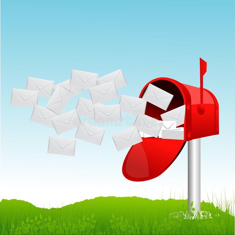 Brievenbus met brieven royalty-vrije illustratie