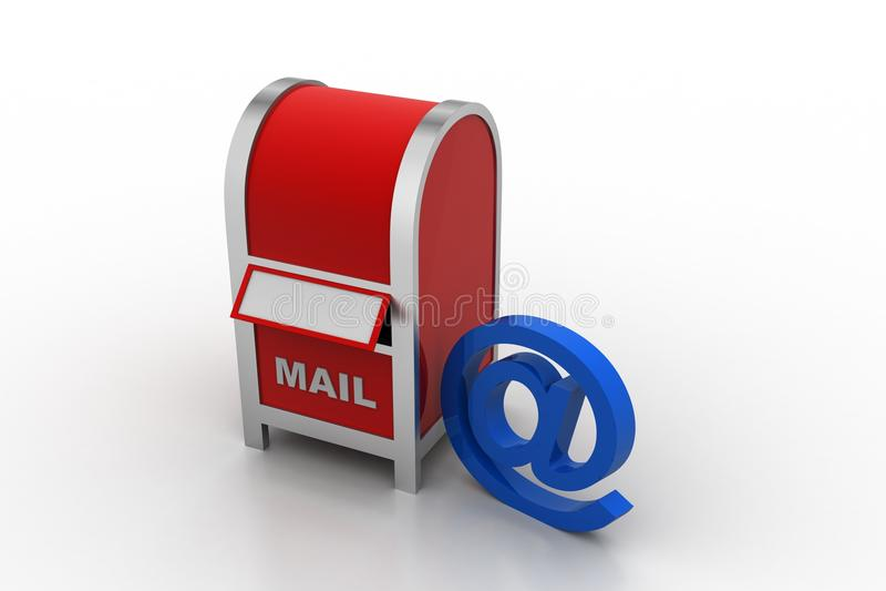 Brievenbus met e-mailteken royalty-vrije illustratie