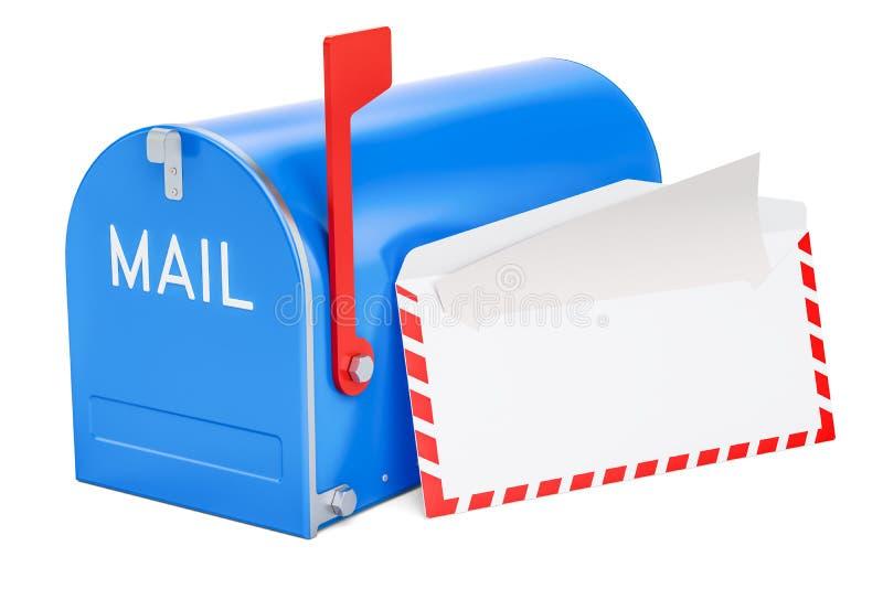 Brievenbus met geopende binnen envelop en brief, het 3D teruggeven stock illustratie