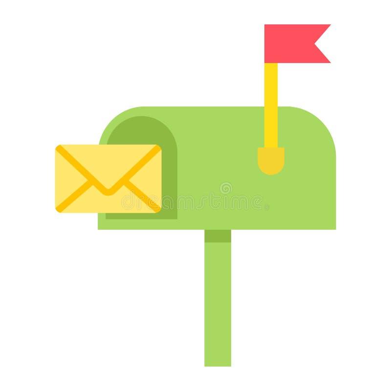 Brievenbus vlak pictogram, brief en website vector illustratie