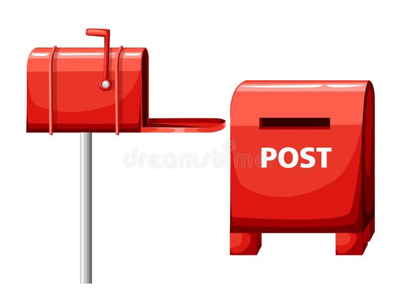 Brievenbusillustratie op witte, vlakke postbus, de rode pagina van de het pictogramwebsite van het brievenbusbeeldverhaal en mobi royalty-vrije illustratie