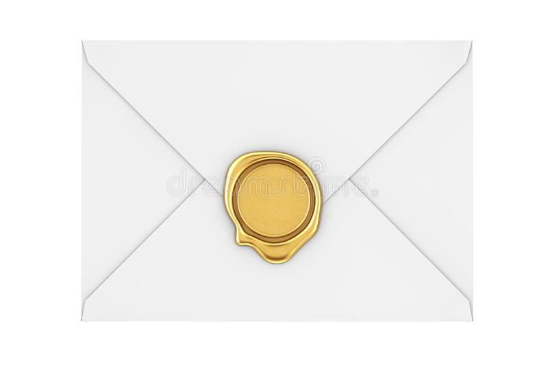 Brievenenvelop met Gouden Wasverbinding het 3d teruggeven stock illustratie