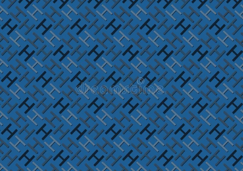 Brievenh patroon in verschillende gekleurde blauwe schaduwen voor behang stock illustratie