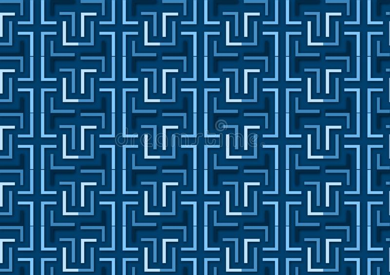 Brievenl patroon in verschillende blauwe gekleurde schaduwen stock illustratie