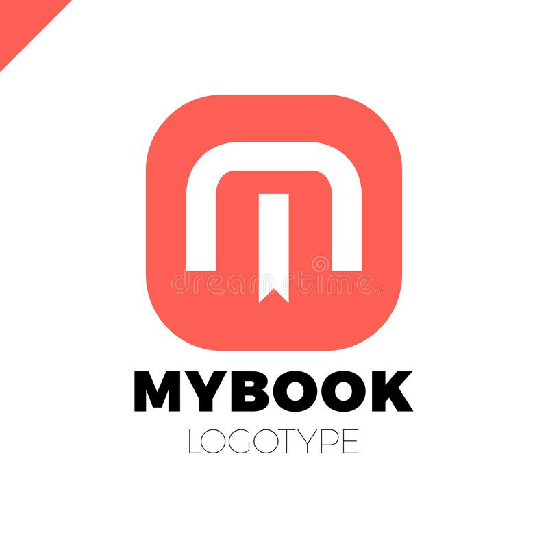 Brievenm embleem met referentie en boek de elementen van het het ontwerpmalplaatje van het symboolpictogram vector illustratie