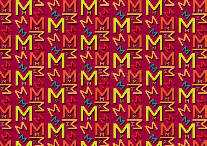Brievenm patroon in verschillende gekleurde schaduwen voor behang vector illustratie