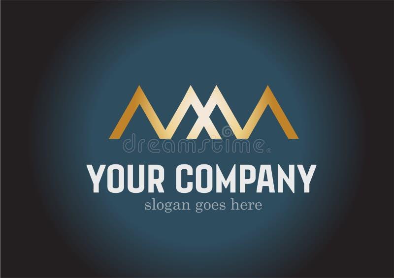 Brievenmm. Gouden Logo Design Vector royalty-vrije illustratie