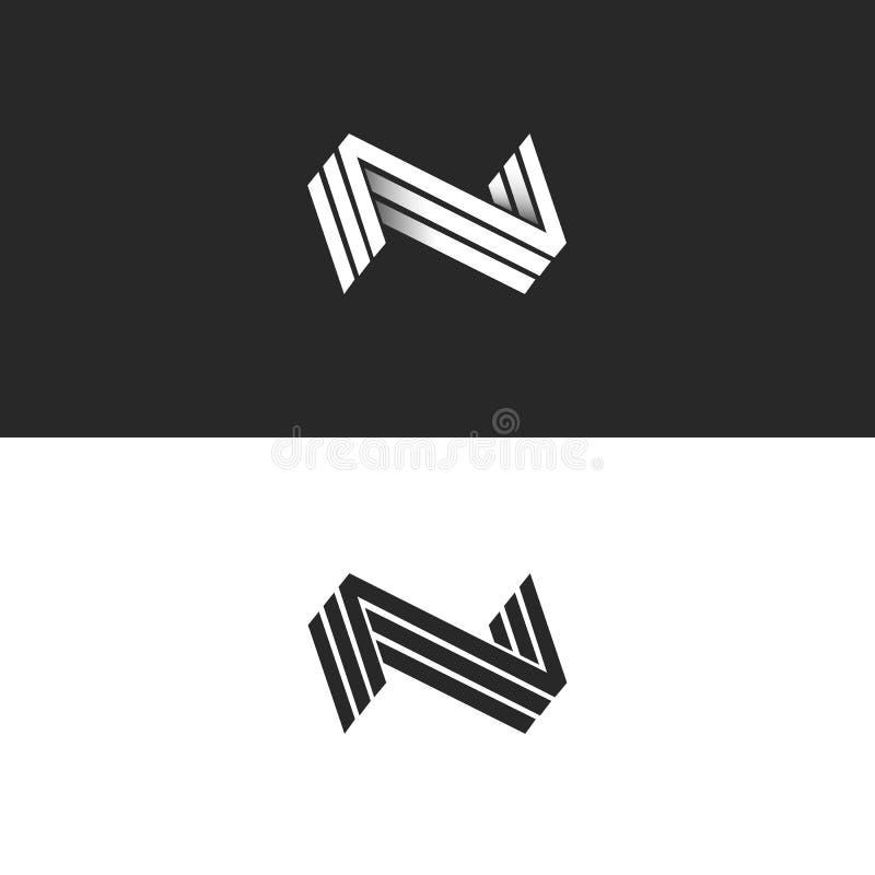 Brievenn embleem drie NNN-teken, isometrisch zwart-wit hipsterembleem van de lijnen geometrisch vorm, ontwerp van de identiteits  stock illustratie