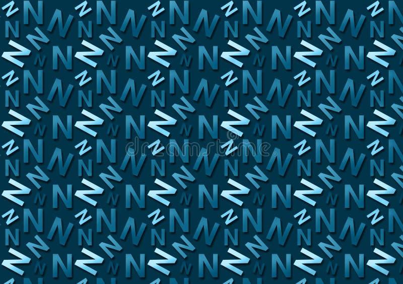 Brievenn patroon in verschillende gekleurde blauwe schaduwen voor behang stock foto's