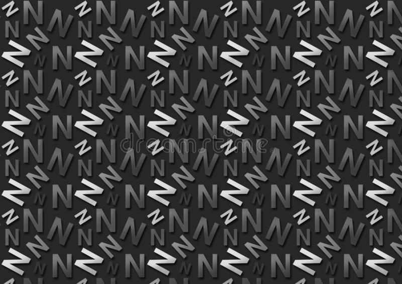 Brievenn patroon in verschillende gekleurde grijze schaduwen voor behang stock fotografie