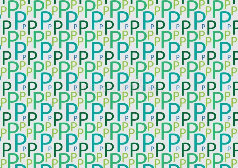 Brievenp patroon in verschillende gekleurde schaduwen stock illustratie
