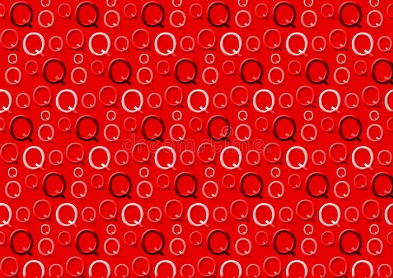 Brievenq patroon in verschillende gekleurde rode schaduwen vector illustratie