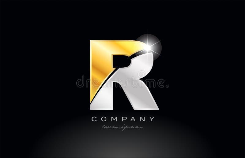 brievenr alfabet met gouden zilveren grijs metaal op zwart embleem als achtergrond vector illustratie