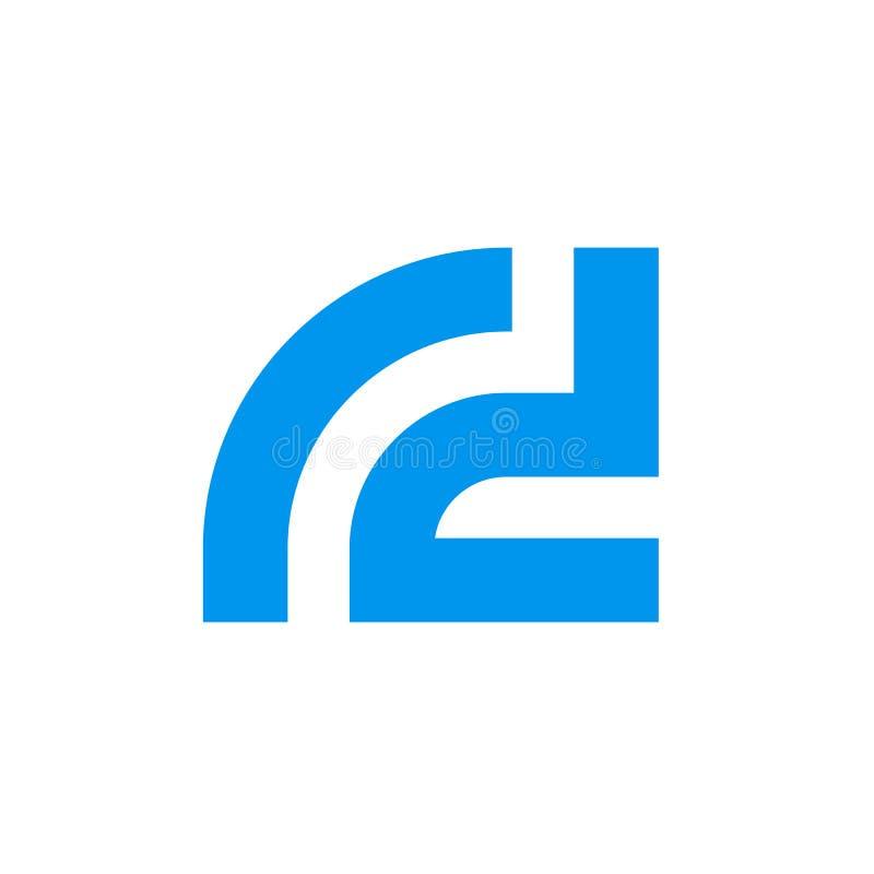 Brievenr D vectorembleem, Aanvankelijk alfabet rd Logotype stock illustratie