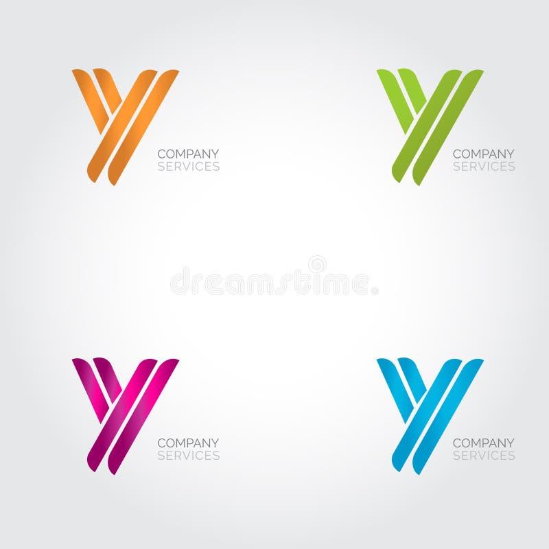 Brieveny logotype ontwerp Abstracte het embleemreeks van het brievenpictogram royalty-vrije illustratie