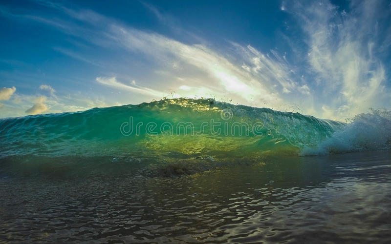 Brig green wave in the caribbean royalty free stock photography