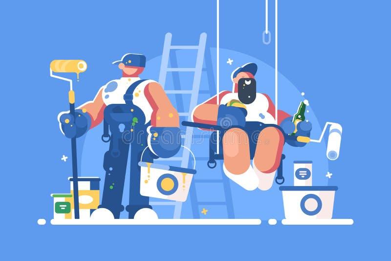 Brigada dos pintores com cubetas e rolos ilustração stock