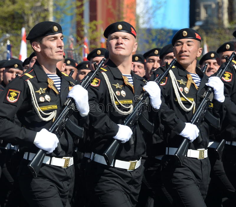 Brigada separada de Kirkenes de los infantes de marina 61.os de infantes de marina de ejércitos costeros de flota septentrional e foto de archivo libre de regalías