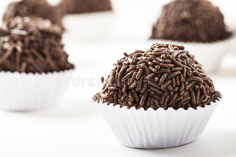 Brigadeiro a brazilian sweet. On a white background royalty free stock images