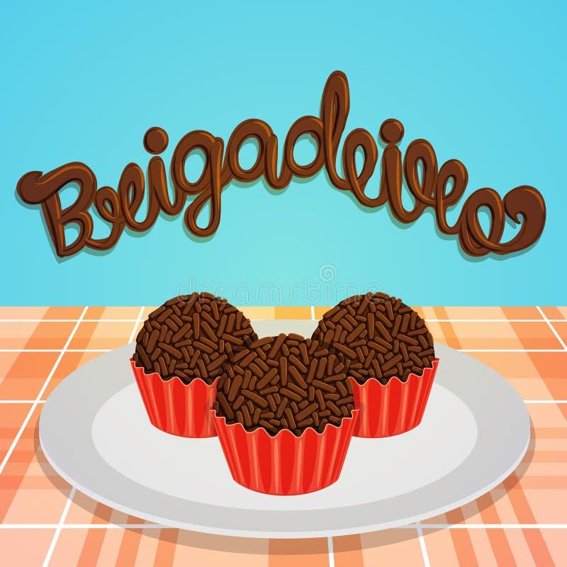 Brigadeiro - doces brasileiros ilustração stock