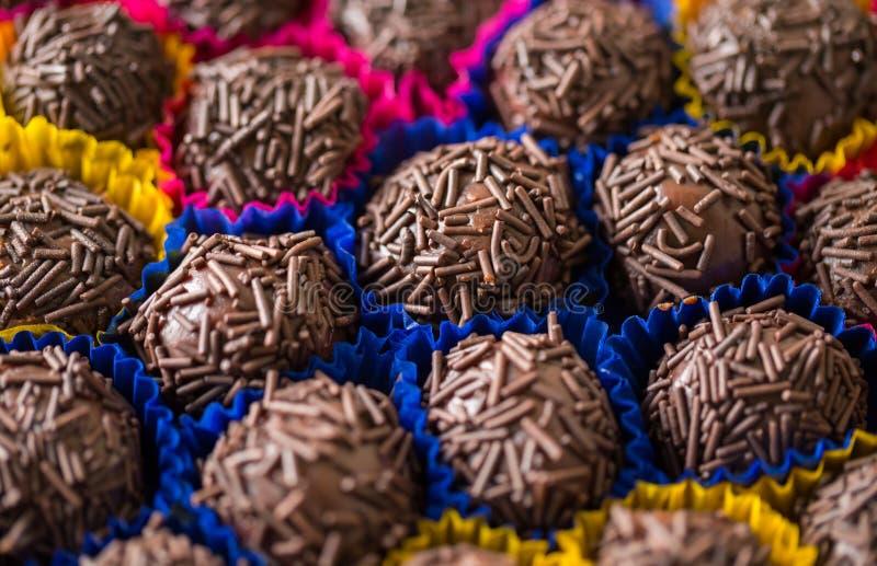 Brigadeiro, macro details. Brigadeiro, Chocolate Brazilian Candy, ready to eat royalty free stock photography