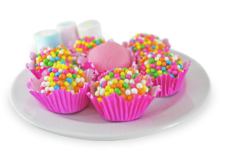 Brigadier with colorful sprinkles royalty free stock photo