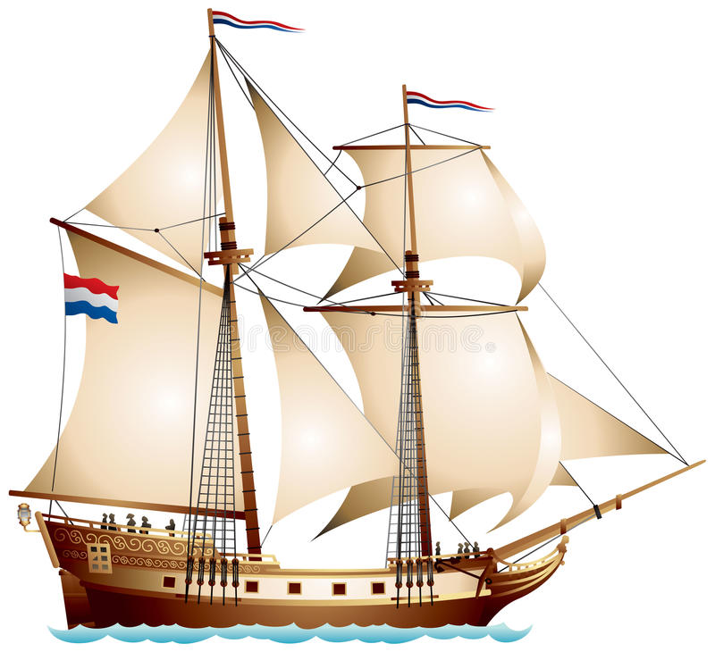 Brigantine sailing vessel vector illustration