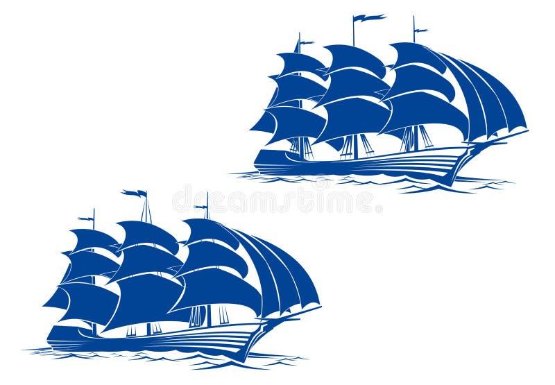 brigantinship vektor illustrationer