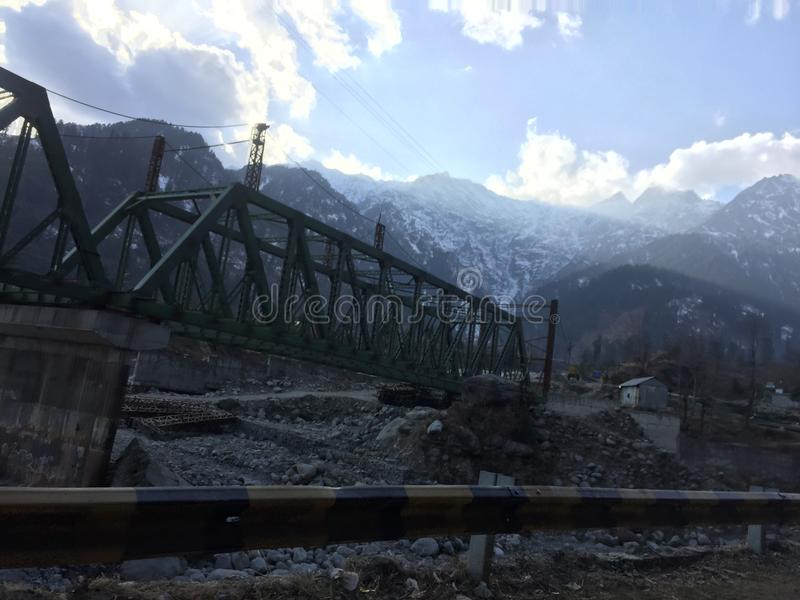 Brigde in solang valley. Border of solang valley stock photography