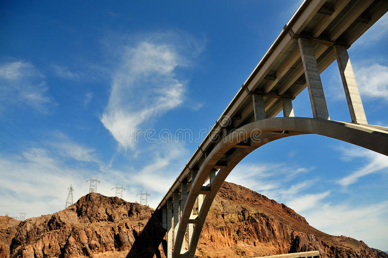 Brige over Hoover Dam, Nevada and Arizona. New Highway bridge over the Colorado River at Hoover Dam, Nevada and Arizona stock images