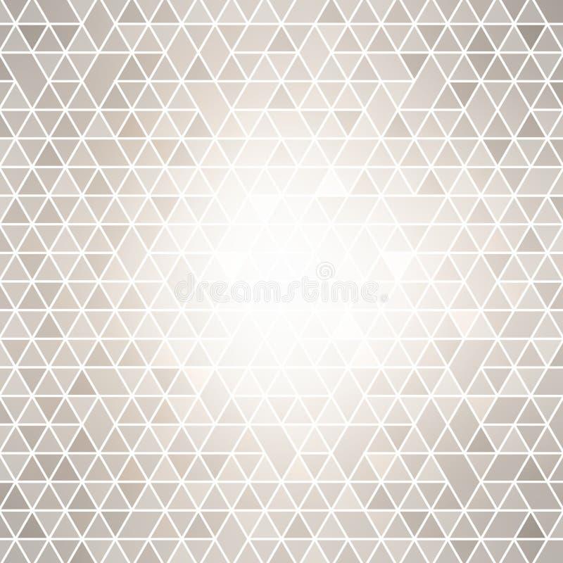 Brigh在poligonal摘要背景的中心的斑点光 淡色灰色瓦片样式 库存例证