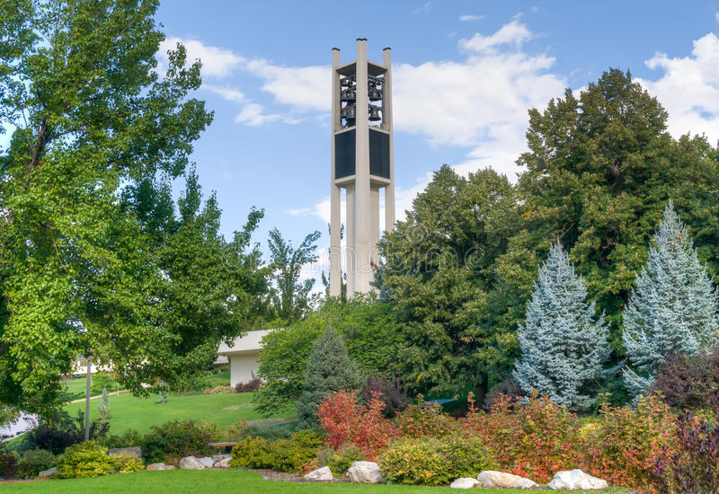 Brigham Young University Centennial Carillon Tower. PROVO, UT/USA - OCTOBER 2, 2016: Centennial Carillon Tower on campus of Brigham Young University stock photo