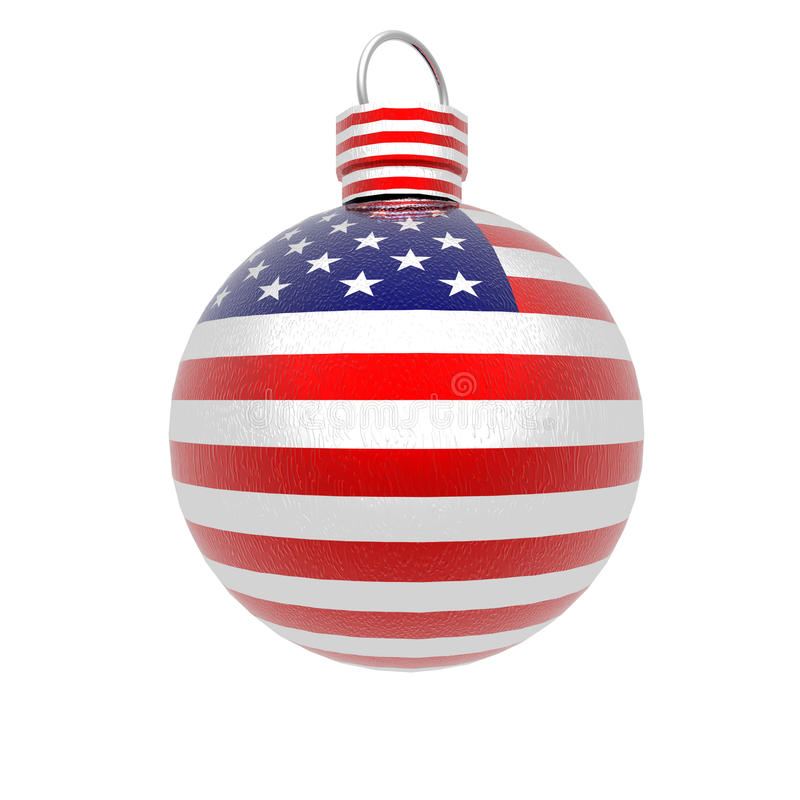 Bright 3d christmas ball with USA royalty free illustration
