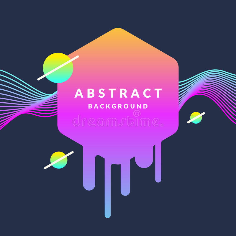 Bright abstract background with a dynamic waves, rhomb and around in a minimalist style. Vector illustration royalty free illustration