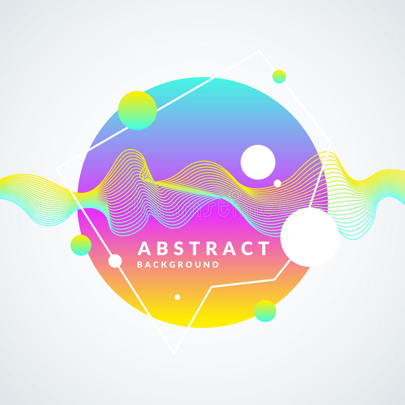Bright abstract background with a dynamic waves, splash and around in a minimalist style. Vector illustration stock illustration