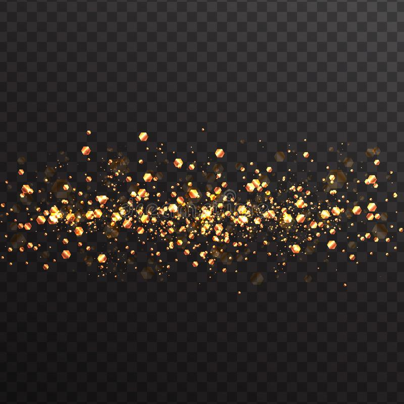 Bright abstract background of glowing gold particles with bokeh effect. Light effects on a transparent background stock illustration