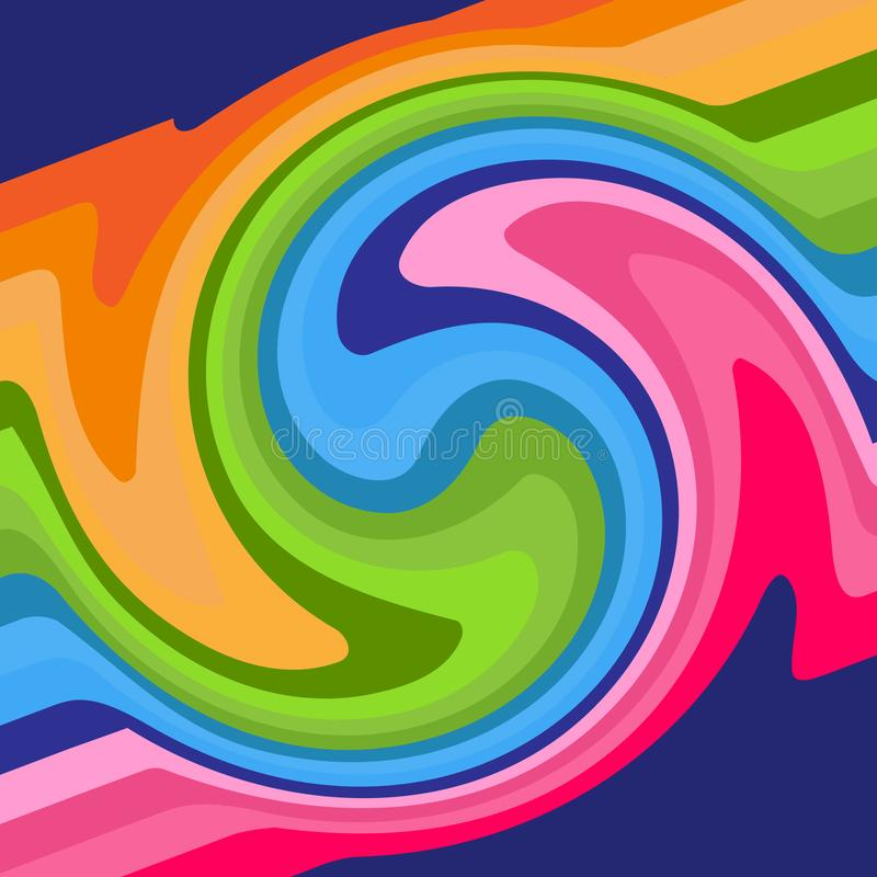 Bright abstract background with a rotating spiral Color cyclic twirl vortex for design and creativity Technology colorful pattern stock illustration