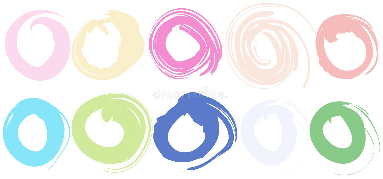 Bright abstract background, summer print, doodle lines, circles on white background stock illustration